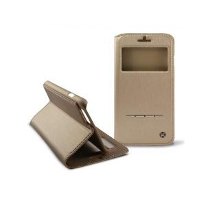 Carrying case for iPhone 6/6S/7/8 KSIX Book-Flip-Case S-View Gold
