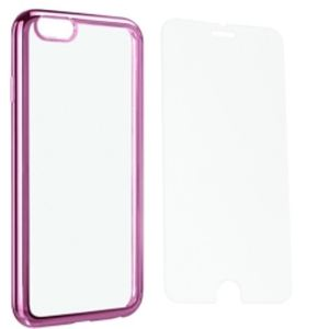 Carrying case for Samsung A520 Senso TPU Clear Side Color Pink + Tempered Glass