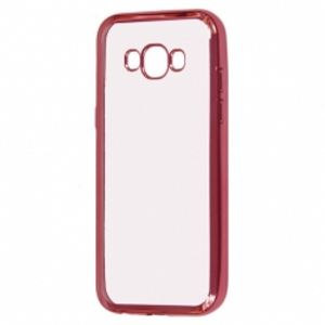 Carrying case for Samsung J510 Senso TPU Clear Side Color Pink + Tempered Glass
