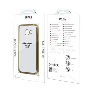 Carrying case for Samsung J730 Senso TPU Clear Side Color Gold + Tempered Glass