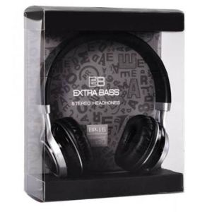 Extra-Bass EP-16 Stereo Headphones with Microphone Black